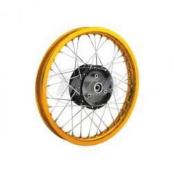 Speichenrad 1,5x16 Zoll - Alufelge GOLD + verchromte Speichen - schwarze Radnabe + abgedrehte Flanken