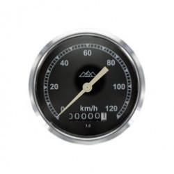 Tachometer, ø 80 mm - verchromt - 120 km/h-Version, Tachoglas gewölbt - pass. für AWO 425T, 425S - mit Drei-Berge-Logo