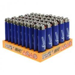 VPE 50 - BIC-Feuerzeug, blau - mit Chromkappe - Schriftzug: Allzeit Gute Fahrt
