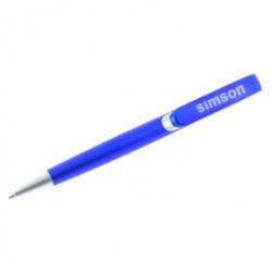 Kugelschreiber - blaumetallic, Drücker, Clipschale und Spitze silber - inkl. 1-fbg. bedruckt - weiß